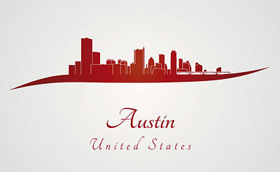 Austin Skyline In Red Poster by Pablo Romero