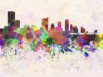 Austin Skyline In Watercolor Background Poster by Pablo Romero