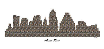 Austin Texas 3d Stone Wall Skyline Poster
