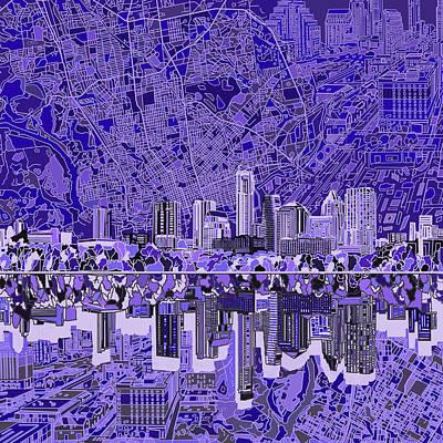 Austin Texas Skyline 4 Poster by Bekim Art