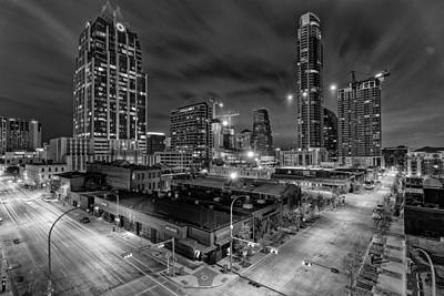 Austin Texas Skyline Get Out The Crane Construction Time Again Poster by Silvio Ligutti