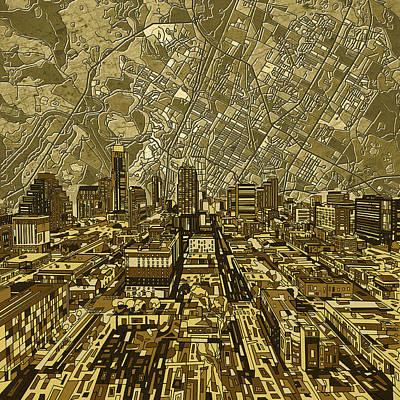 Austin Texas Vintage Panorama Poster by Bekim Art