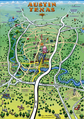 Poster featuring the digital art Austin Tx Cartoon Map by Kevin Middleton