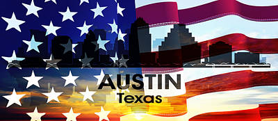 Austin Tx Patriotic Large Cityscape Poster by Angelina Vick