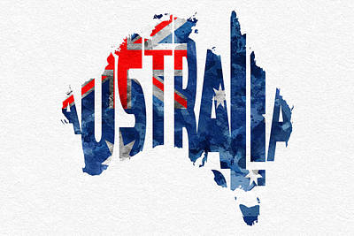 Australia Typographic World Map Poster by Ayse Deniz