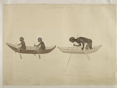 Australian Aborigines Paddling Bark Canoe Poster by British Library