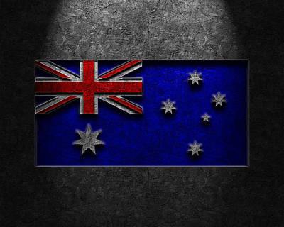 Poster featuring the digital art Australian Flag Stone Texture by Brian Carson