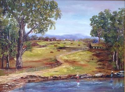 Australian Landscape Children Fishing Poster