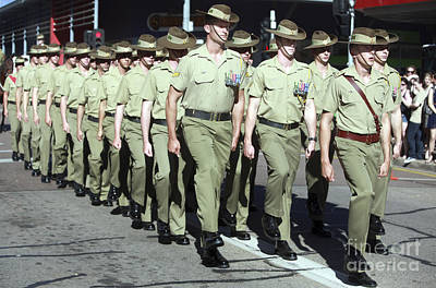 Australian Soldiers March In An Anzac Poster by Stocktrek Images