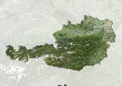 Austria, Satellite Image Poster