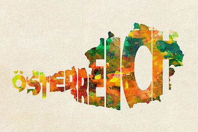 Austria Typographic Watercolor Map Poster by Ayse Deniz