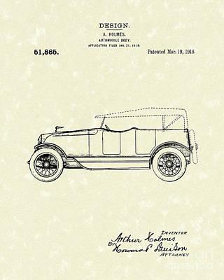 Automobile Body 1918 Patent Art Poster