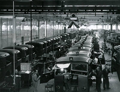 Automobile Factory Workers Poster