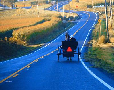 Autumn Amish Buggy Ride Poster