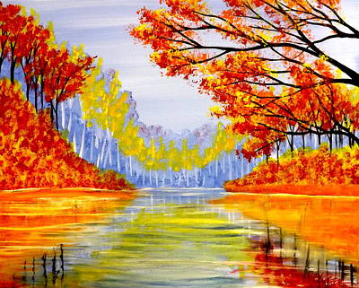 Poster featuring the painting Autumn At The Lake by Darren Robinson