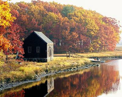Autumn Boathouse Poster