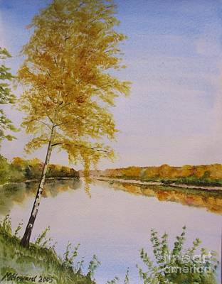 Poster featuring the painting Autumn By The River by Martin Howard