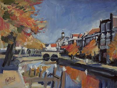 Autumn Canal Leiden Poster