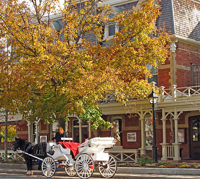 Autumn Carriage For Hire Poster by Barbara McDevitt