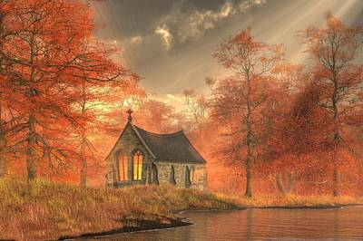 Autumn Chapel Poster by Christian Art