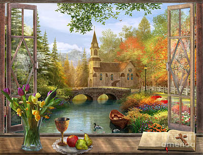 Autumn Church Frame Poster by Dominic Davison