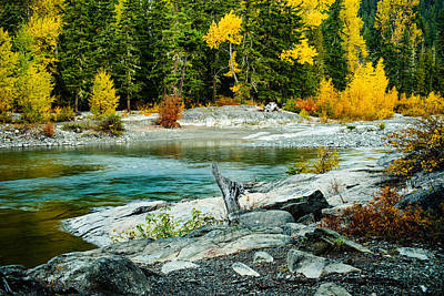 Autumn Colors Along The Cle Elum River - Washington - October 2013 Poster by Steve G Bisig