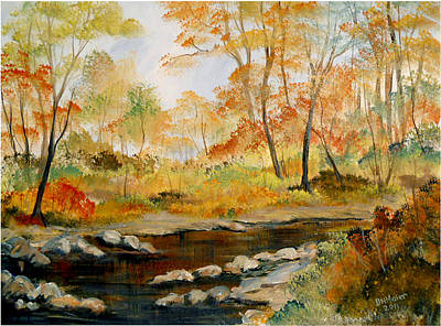 Poster featuring the painting Autumn Colors By The River by Dorothy Maier
