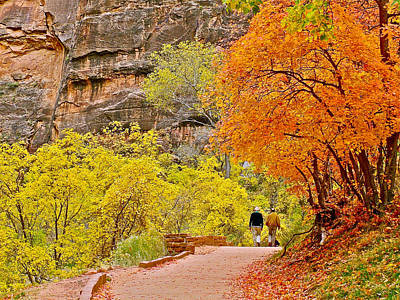 Autumn Colors On Riverside Walk In Zion National Park-utah Poster