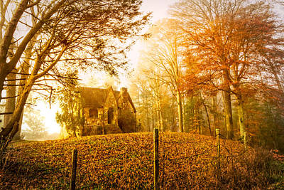 Autumn Cottage Poster by Debra and Dave Vanderlaan