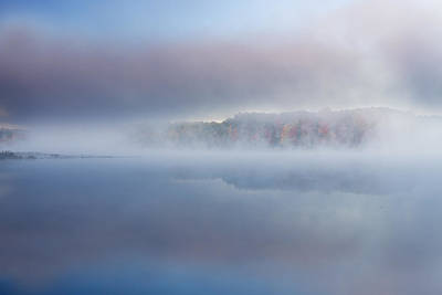 Autumn Deep Lake In Fog Poster by Dean Pennala