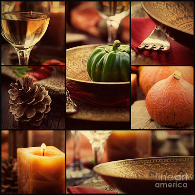 Autumn Dinner Collage Poster by Mythja  Photography