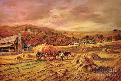 Autumn Folk Art - Haying Time Poster by Lianne Schneider