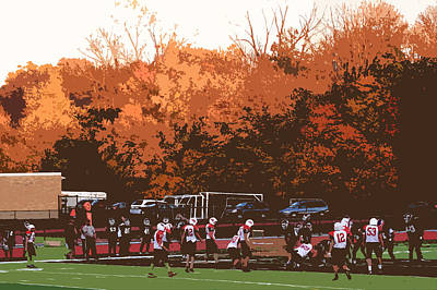 Autumn Football With Cutout Effect Poster by Frank Romeo