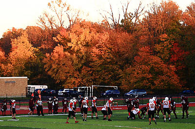 Autumn Football With Dry Brush Effect Poster by Frank Romeo