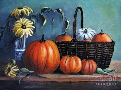 Poster featuring the painting Autumn Gifts by Vesna Martinjak