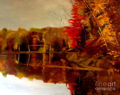Fall Trees Reflected On Lake Poster by Lisa Alex Gray