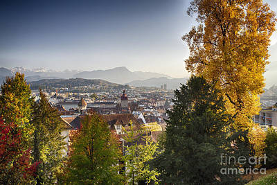 Autumn In Lucerne Poster by George Oze