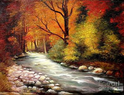 Poster featuring the painting Autumn In The Forest by Sorin Apostolescu
