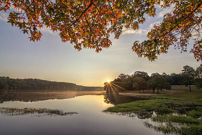 Autumn Lake Sunrise In East Texas Poster