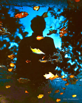 Autumn Leaves Art Fantasy In Water Reflections Poster