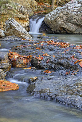 Autumn Leaves At Little Missouri Falls - Arkansas - Waterfall Poster