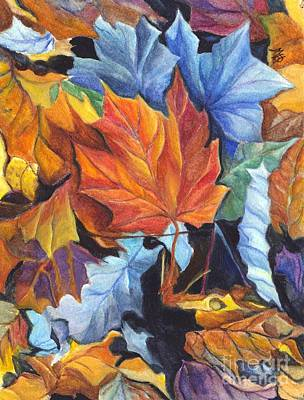 Autumn Leaves Of Red And Gold Poster by Carol Wisniewski