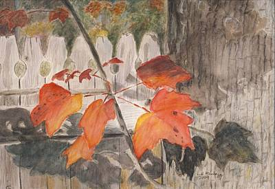 Poster featuring the painting Autumn Leaves On Belmont St by Linda Feinberg