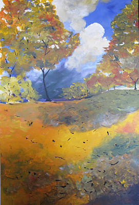 Poster featuring the painting Autumn Leaves Panel1 Of 2 Panels by Gary Smith