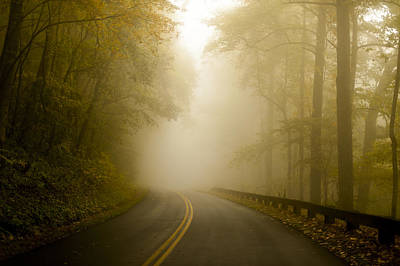 Autumn Mist Blue Ridge Parkway Poster