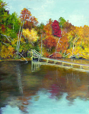 Poster featuring the painting Autumn On The James by Sandra Nardone