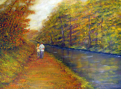 Autumn On The Towpath Poster by Loretta Luglio