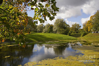 Autumn Park And Pond Poster by Rita Kapitulski