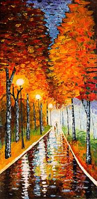 Poster featuring the painting Autumn Park Night Lights Palette Knife by Georgeta  Blanaru