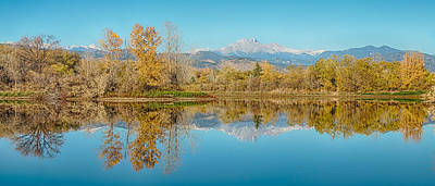 Autumn Peaks Golden Ponds Reflections Panorama Poster